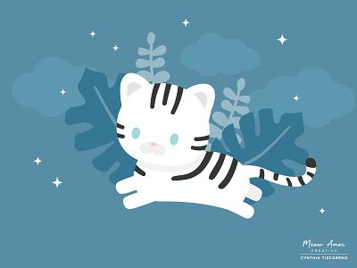 Snow tiger cat animals character design vector kids childrens cute art tiger snow tiger illustration cute