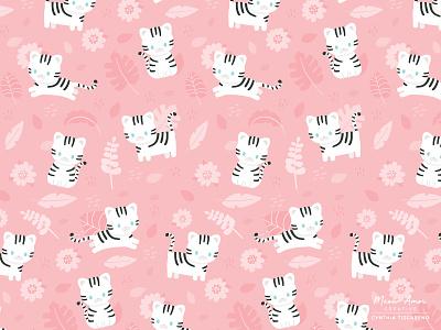 snow tiger pattern character design pattern animals design vector childrens cats snow tiger artwork illustration tiger cute surface pattern pattern design