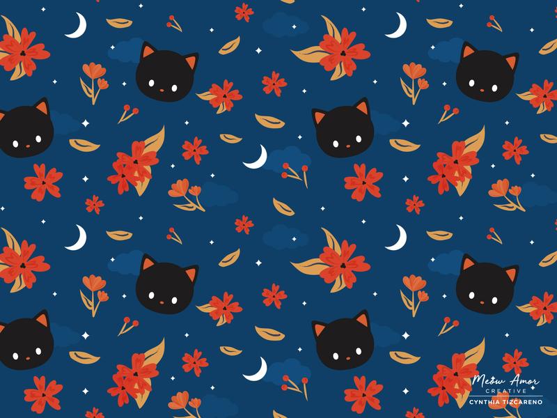 Midnight Cat Pattern design cat black cat art artwork vector best vector vector illustration night time midnight moon autumn fall floral patterns surface pattern pattern design floral