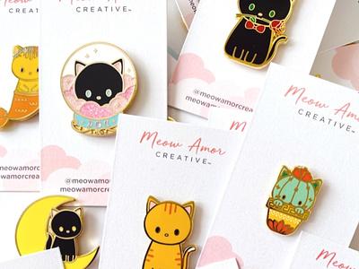 Branding lapel pin minimal clean packaging branding cat lover cute