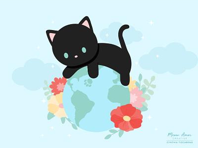 Earth Day design simple illustration art vector kawaii animals black cat cat earthy floral cute earth illustration earthday
