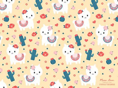Happy Llama Pattern patternplay patternlife patternillustration kidpatterns pattern a day llama textile print illustration pattern art surfacepattern patterndesign
