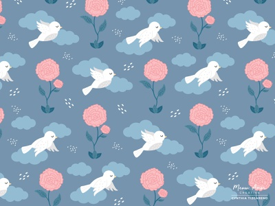 Birds and Blooms illustration pattern art vector simple cute textile pattern surface pattern florals flowers birds pattern design
