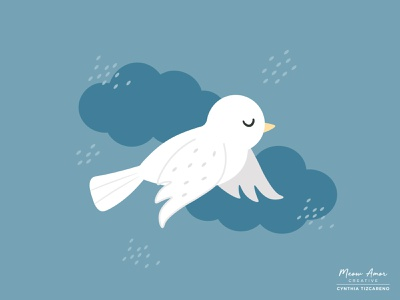 peaceful dove blue skies cute printandpattern surfacepattern vectorart vector sweet bird illustration bird dove