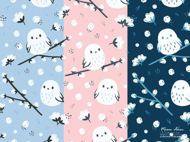 Cotton bird pattern design pattern design illustration simple vectorart vector branch floral cotton colors printandpattern kawaii cute japanese bird cotton bird surface pattern