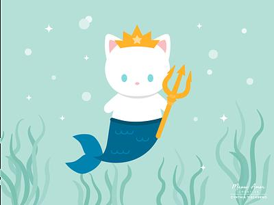 Mermaid Cat King animals design illustraion vectors summer king purrmaid mermaid cat vector cute