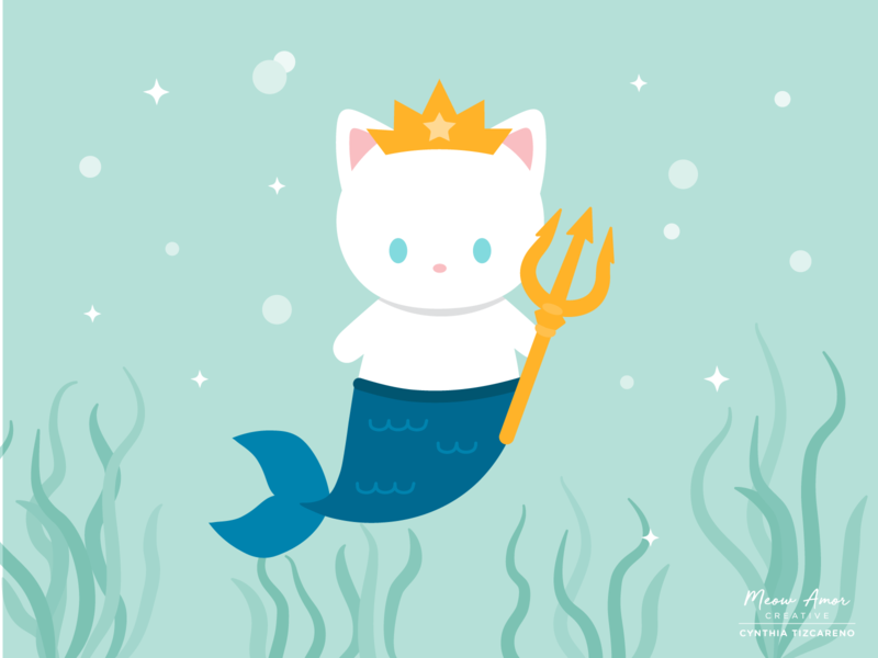 Mermaid Cat King animals design illustraion vectors summer king purrmaid mermaid cat vector cute