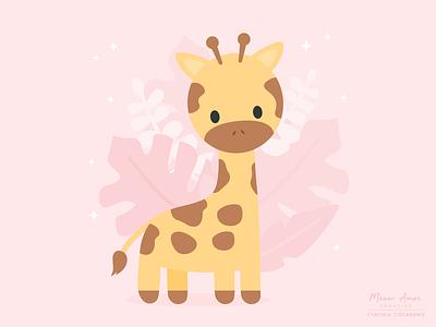 Giraffe animals nursery kidillustrations cute animals safari illustration vector sweet giraffe cute