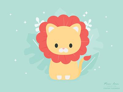 lion animals safari kids illustration cute illustration cute animals vector kids nursery floral sweet lion cute art