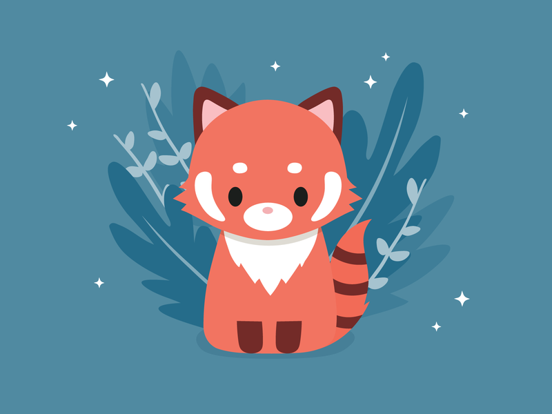 redpanda adorable kids nursery vector animals cute illustration sweet redpanda