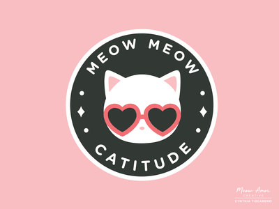 meow meow catitude cats vectorart patch vector illustration character badge logo vector badge cool cat cat meow