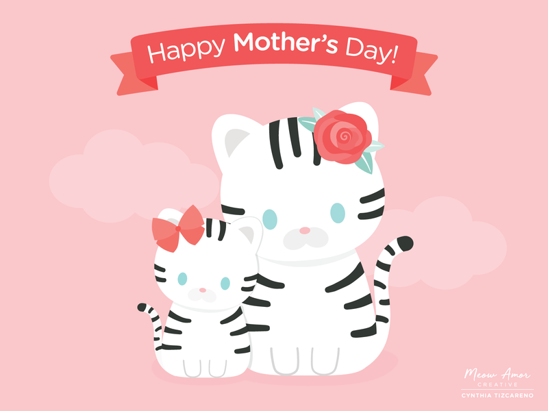 Mothers Day cute animal illustration sweet character vector cute art snowtigers tiger tigermom mom mother mothersday cute