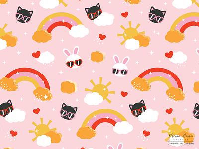 Summer Sunshine Pattern kids baby sweet girly sun sunshine happy fun summer retro colors rainbows bunny cat surface pattern pattern animals vector design illustration cute