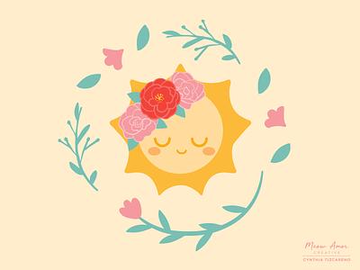 Peaceful Sun positive vibes sunshine radiant positive kawaii cute wreath flower crown floral baby kids sweet summer sun