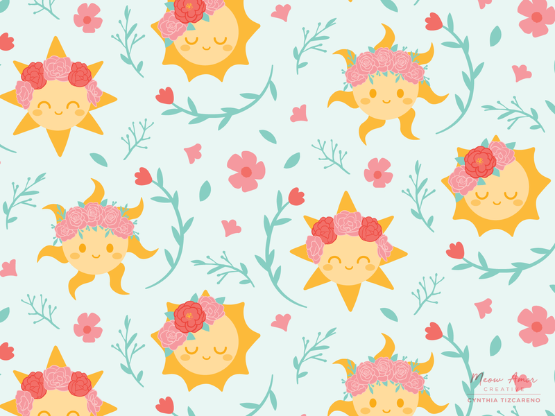 Sun Flower Crowns Pattern challenge vector pattern art spoonflower positive sunshine summer florals flower crowns cute illustration cute sun surface pattern seamlesspattern pattern