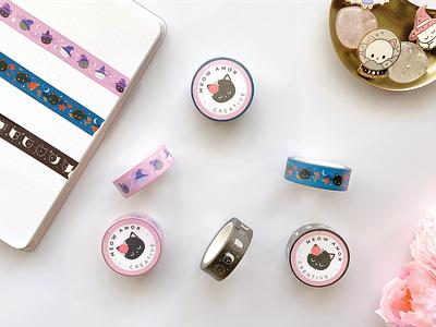 Washi Tape Design animals merch products product design cute illustration cute art stationery pattern design cats kawaii cute washi tape