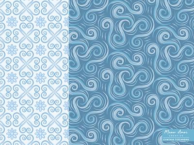 Water Swirls Pattern design print and pattern textile floral patternplay surfacepattern geometric abstract watercolor pattern textile pattern summer beach ocean blue swirls water
