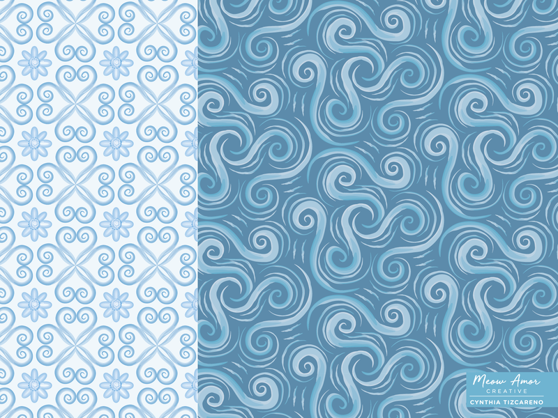 Water Swirls Pattern design print and pattern textile floral patternplay surfacepattern geometric abstract watercolor pattern textile pattern summer beach ocean blue swirls water
