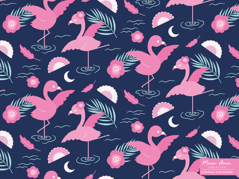 Flamingo Dancer character vectorart pink dance night kids spoonflower surface pattern pattern pattern design flamingo animals cute illustration