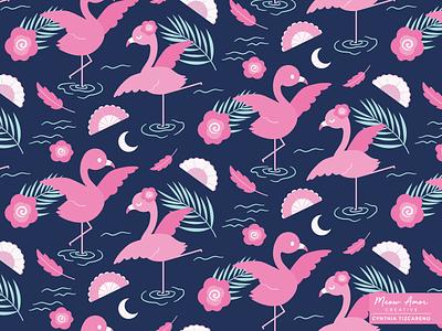 Flamingo Dancer character vectorart pink dance night kids spoonflower surface pattern pattern pattern design flamingo animals cute illustration
