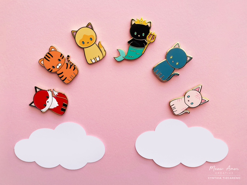 Rainbow Enamel pins cat accessories cute art fox cats tiger purrmaid character design enamel pins photography cute