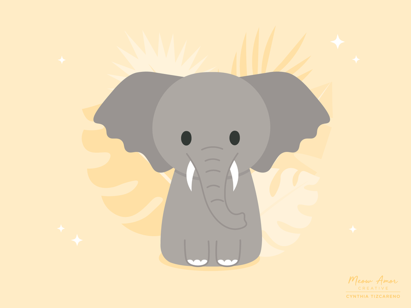 African elephant simple cute character design vector illustration vector animals african elephant