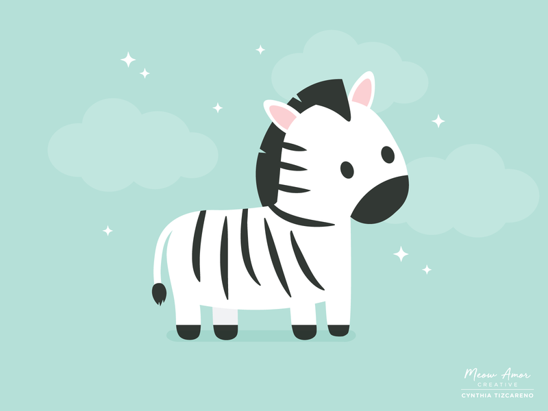 Zebra childrens kids simple stripes safari wild animals illustration design character art zebra