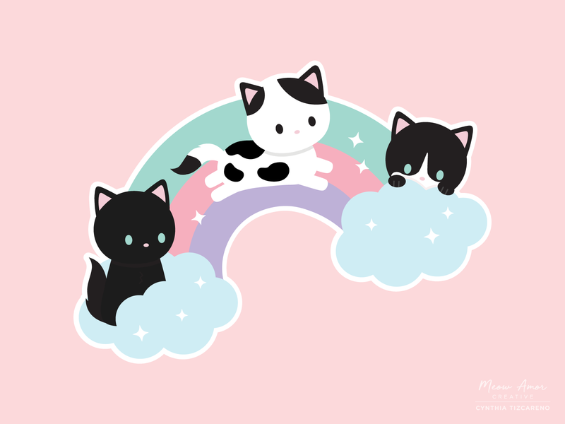 Rainbow Bridge Cats vector illustration dreamy sweet rainbows cats cute