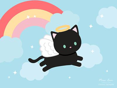 Rainbow Angel cat vector kawaii simple illustration cats black cat angel rainbow cute