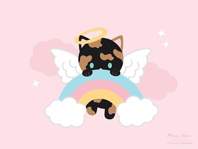 Tortie Angel sweet kawaii illustration vector cute illustration rainbow angel tortie