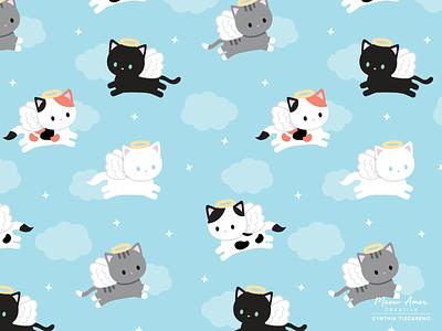 angel cat pattern design pattern designer surface pattern design angel cats kawaii cute vector illustration vector pattern design cats angels