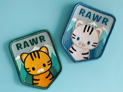 RAWR Badge Design vector iron on patch patch badge cute rawr tiger