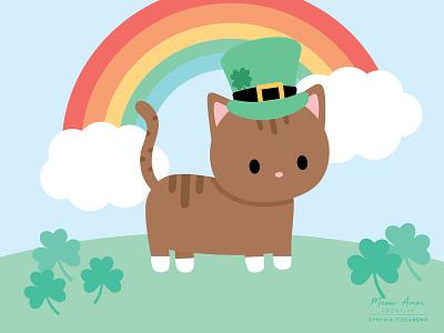 St Patricks Day rainbow clover st patricks day cat cute illustration