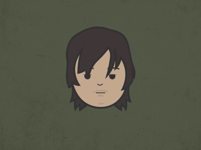 Daryl icon design cute graphics vector flat illustration character zombies the walking dead twd daryl