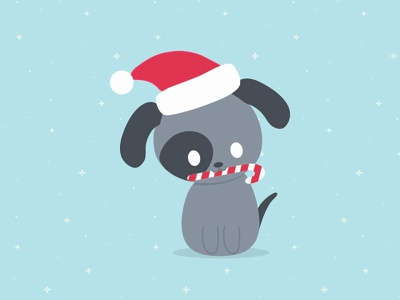 Puppy with candycane animals character design simple flat vector design candy cane christmas cute puppy