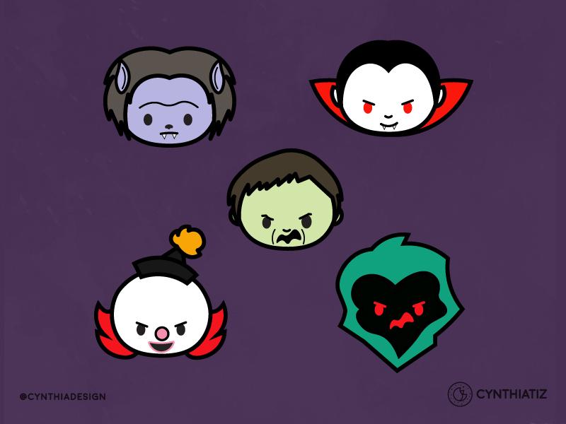 Monsters! werewolf creeper clown vampire scoobydoo cute daily challenge october halloween monsters