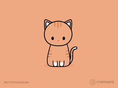 Orange Tabby Cat vector design illustration cute tabby cat orange