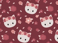 Cat and flowers Pattern