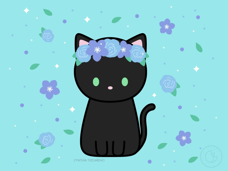 Cat Flower Crown By Cynthia Tizcareno On Dribbble Either way i hope you like it. cat flower crown by cynthia tizcareno