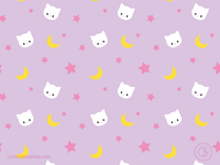 Cat moon and stars pattern