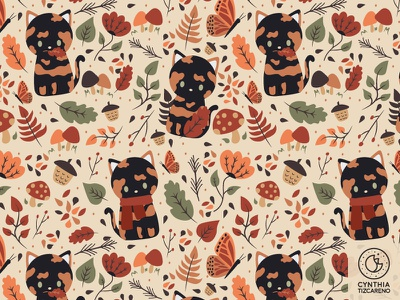 Tortie cat in the fall Pattern floral whimisical seasonal fall pattern fall cute autumn leaves surface pattern cat tortie seamless pattern
