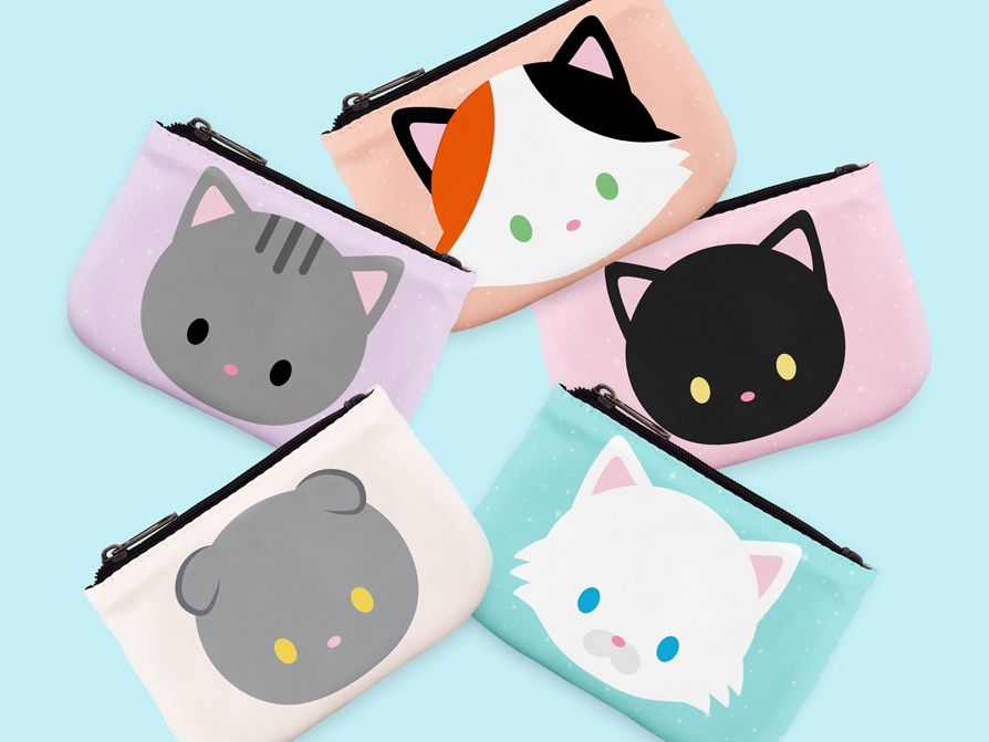 Cat Coin Purses accessories product design vector cat illustration black cat catart coin purse cute