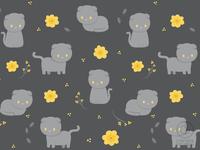 Scottishfold Cat and Yellow flowers Pattern