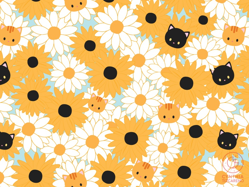 Flower Cat Pattern simple pattern floral art cute cat illustration surface pattern pattern design floral daisy sunflower