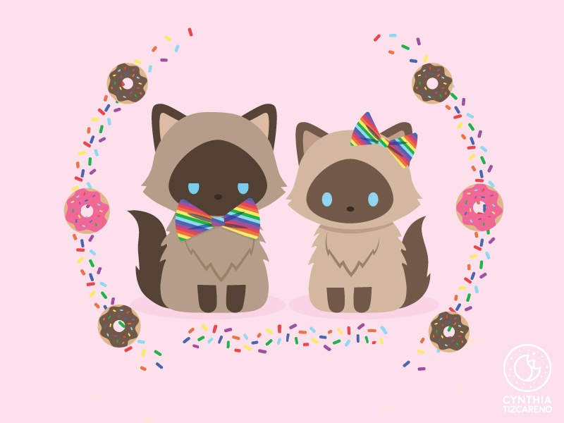 Cheech + Chong Portrait vector illustration rainbows sprinkles donuts himalayan cats characterdesign illustration kawaii cute art commission pet portrait cat portrait