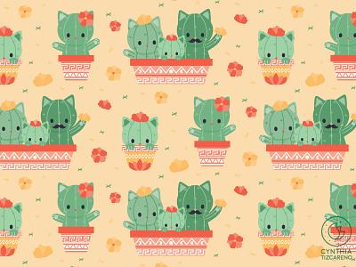 catcus pattern design cuteart character design illustration catcus family kawaii cute surface pattern seamless pattern seamlesspattern pattern design catcus