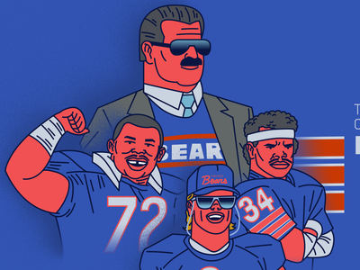 The Colorful Bears editorial artwork sports illustration vector longform illustration article art design animation characters sports nfl photoshop football illustration chicago bears
