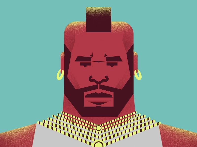 Mr. T as B.A. Baracus photoshop vector 80s minimal design characters illustration the a team.mr. t