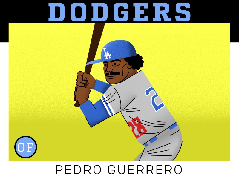 Pedro Guerrero  dodgers stylized drawing characters mlb adobe sports illustration baseball