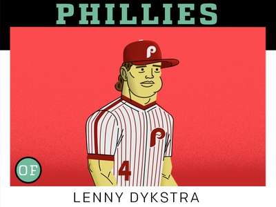 Lenny Dykstra  philadelphia phillies stylized drawing characters mlb adobe sports illustration baseball